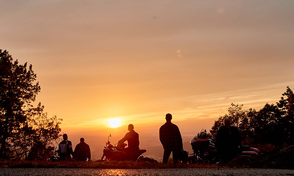 Motorcycle-riders-tour-enjoys-sunset